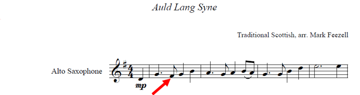Showing the notes that should be played as a sharp.