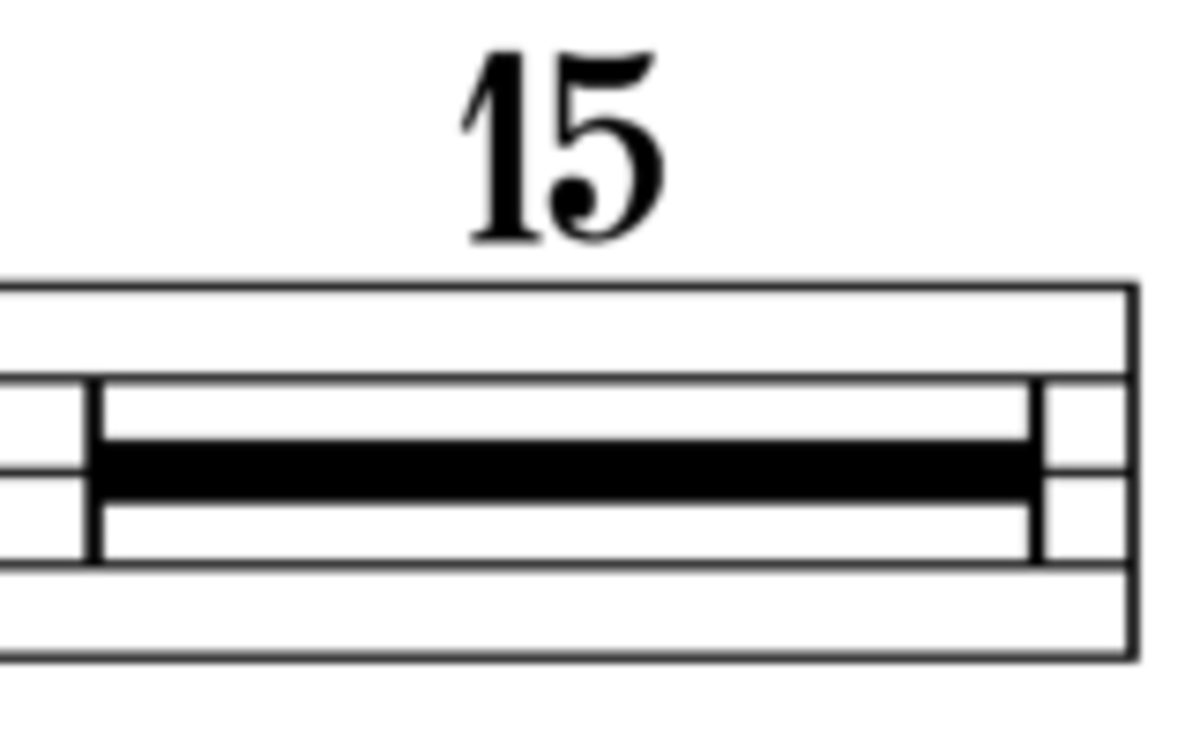 Example of how a multiple bar rest would appear in sheet music.