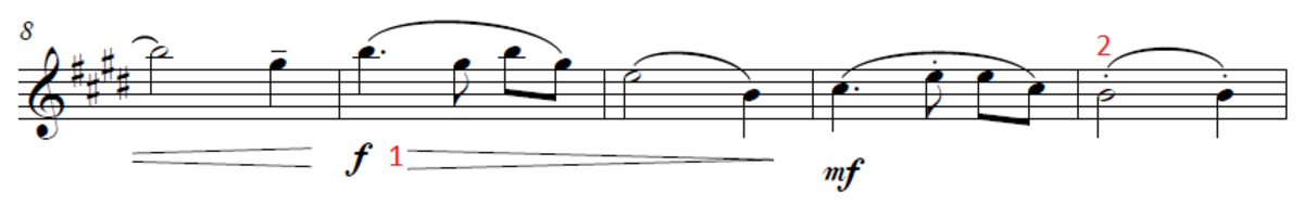 Line two of Amazing Grace with musical notations marked.