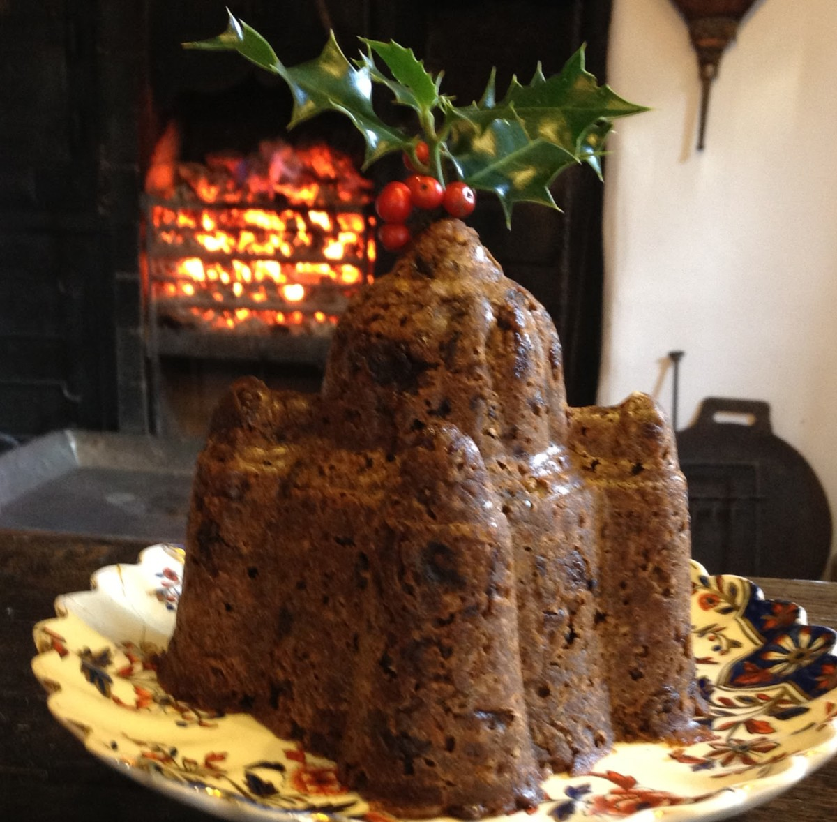 Christmas pudding moulded into the shape of a castle