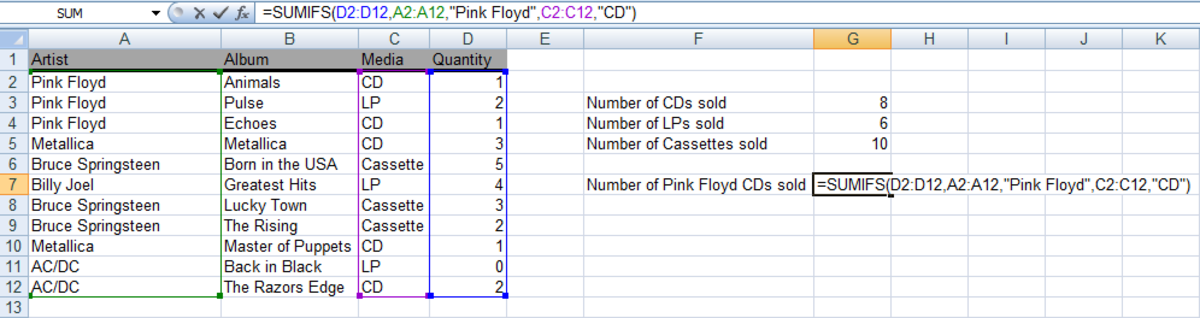Example of a SUMIFS function used in a formula in Excel 2007 and Excel 2010.