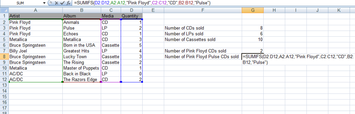 A further example of a SUMIFS function used in a formula in Excel 2007 and Excel 2010