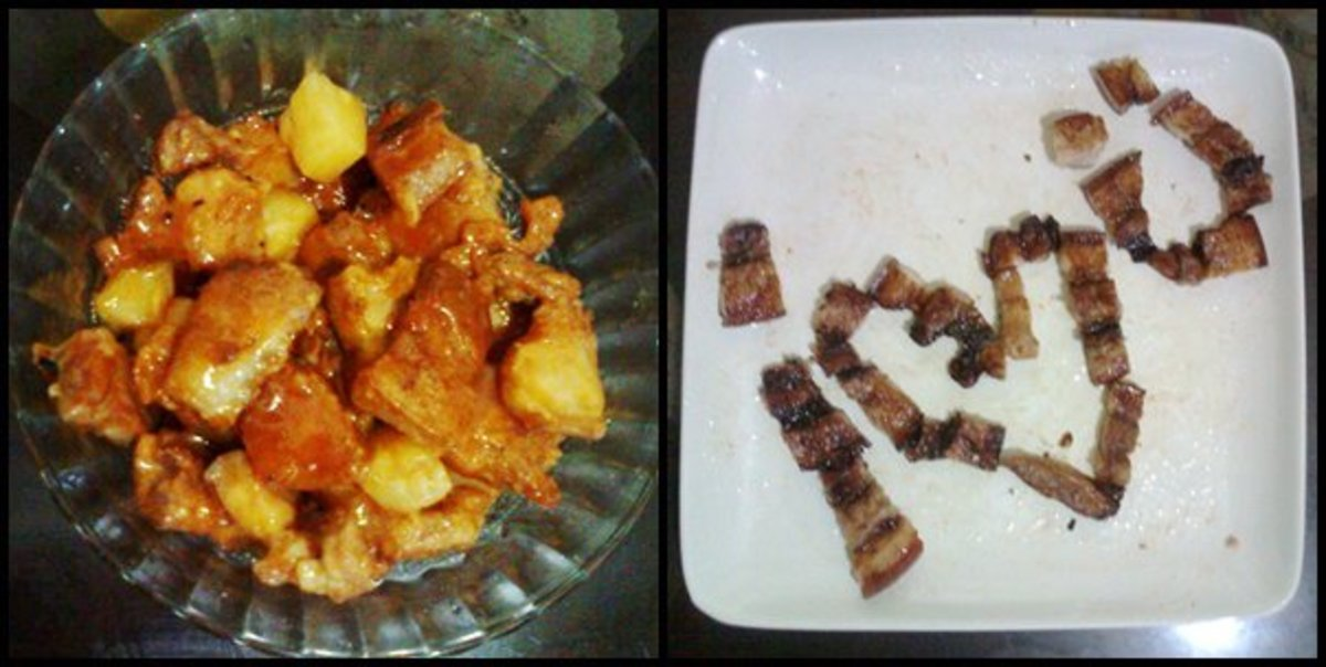 We were experimenting with pork and finally decided to make some sweet and sour pork (left), as well as some turbo-grilled pork liempo (right).
