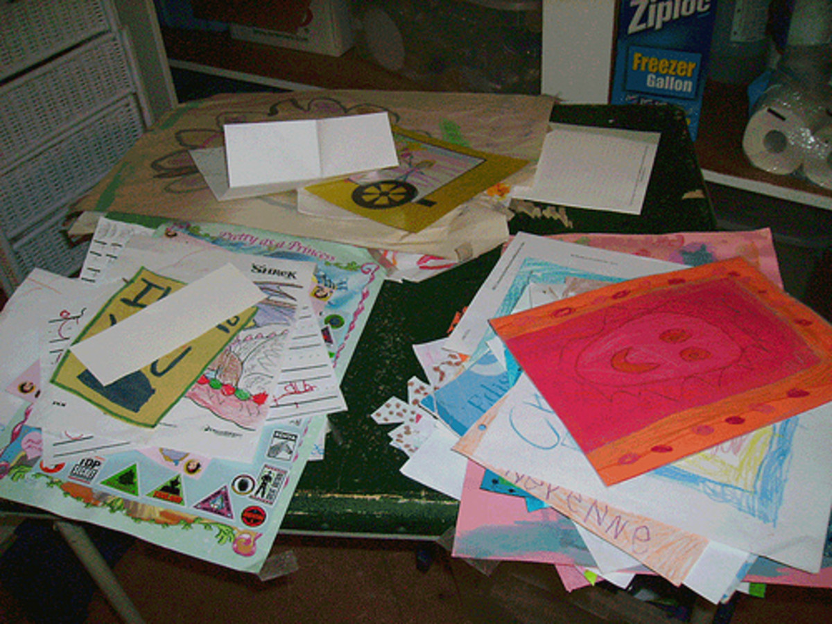 Turn some of the kid artwork that you can't bear to throw away into coasters.