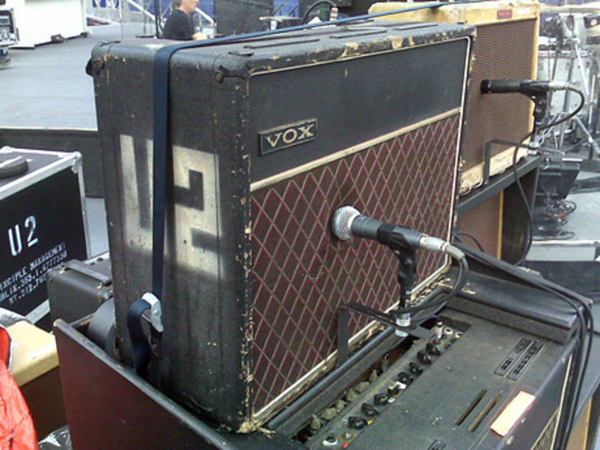 The Edge's highly unique Vox AC-30 amplifier. While the cabinet was built in the 1970s, the chassis is taken from a 1964 model. The amp also features two replacement speakers, a Jensen Blue Alnico and a Jensen Silver Alnico.