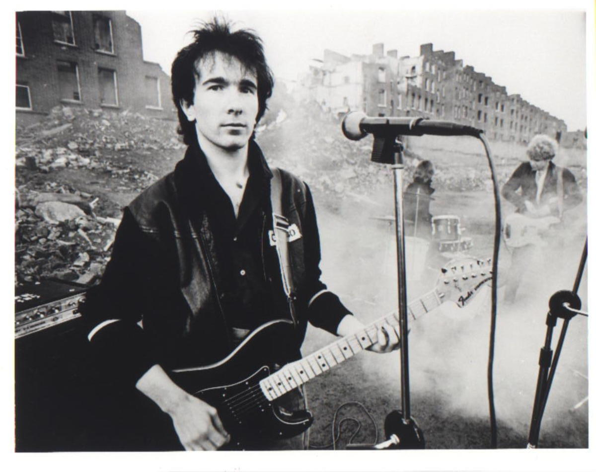 "The Edge with his 1979 Fender Stratocaster on the set of the video for ""A Celebration."""
