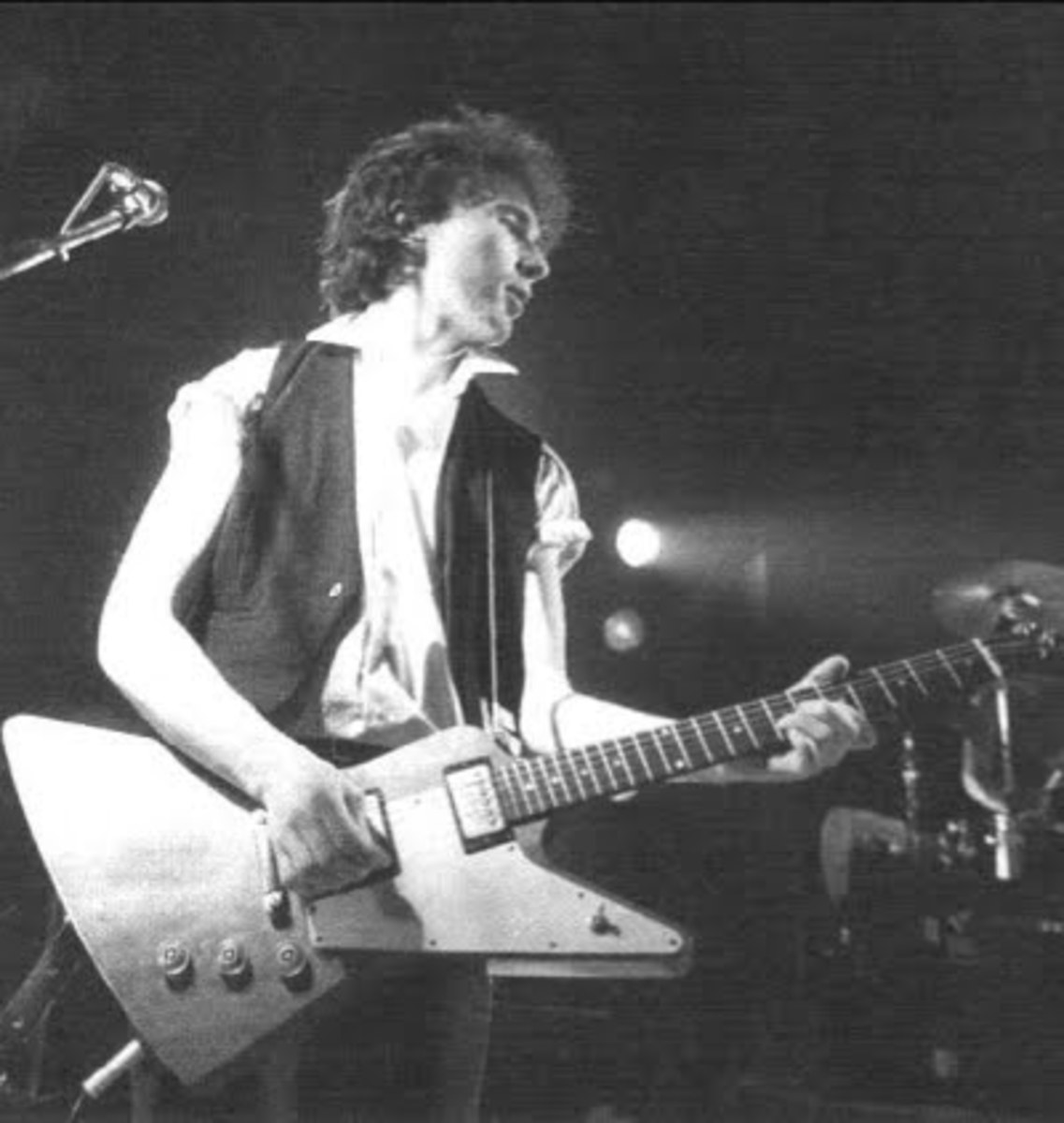 The Edge with his Gibson Explorer in 1982.