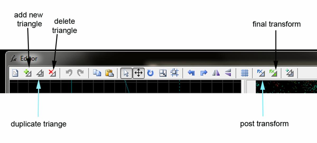The transform editor menu in apophysis