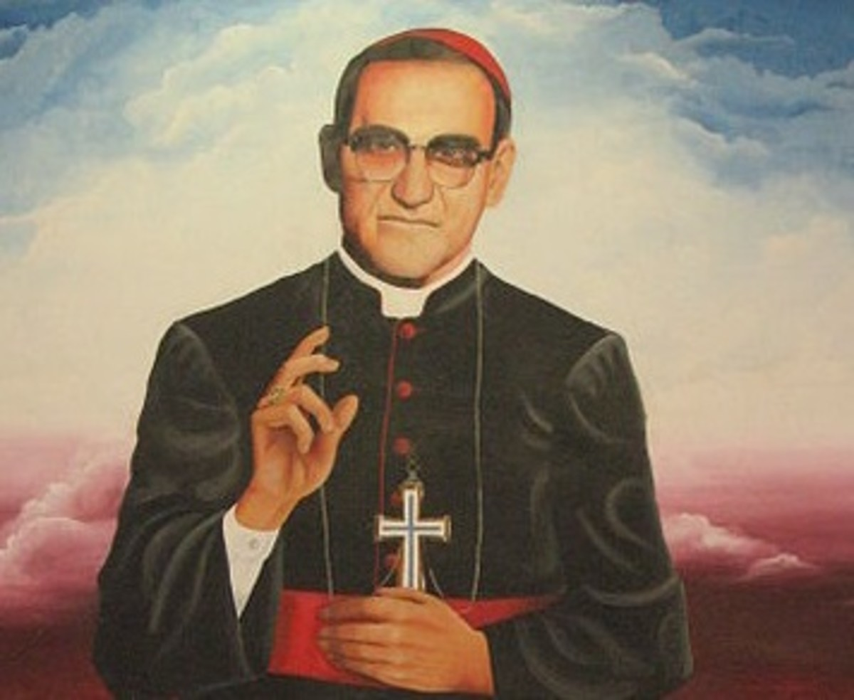 An artwork of Oscar Romero, the archbishop assassinated in El Salvador.