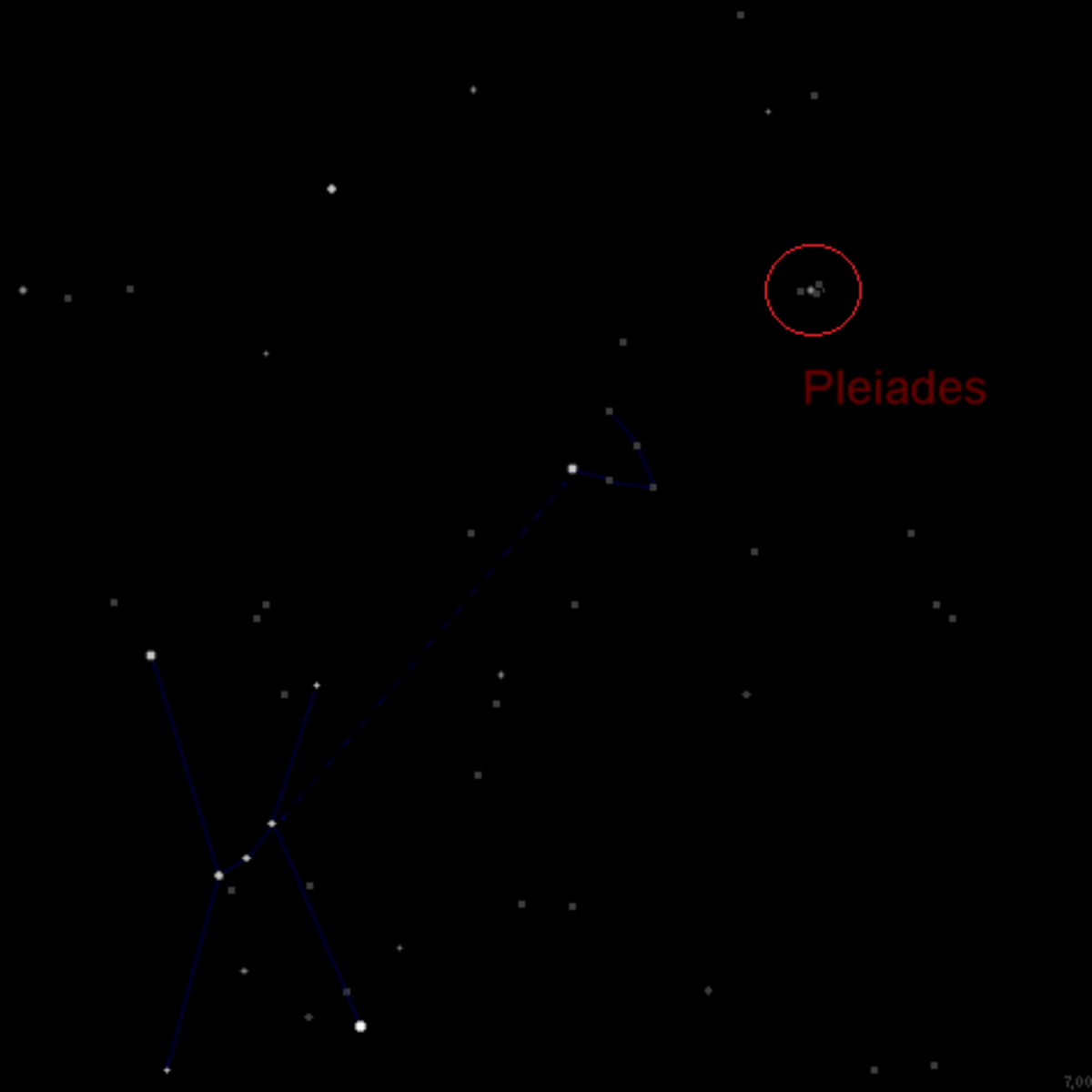 Map of Orion, Taurus, and the Pleiades