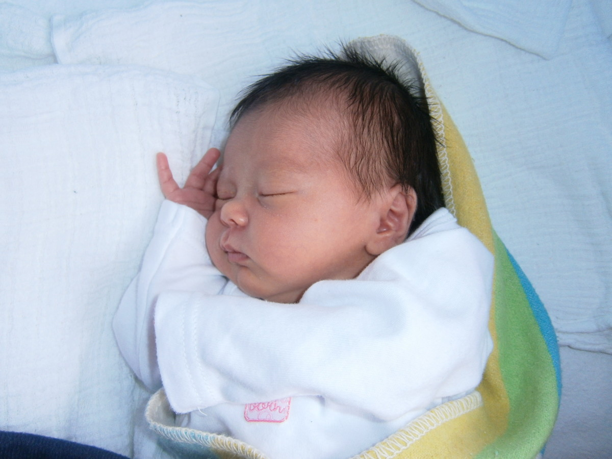 Your sleeping baby - a special moment to put in a baby album or baby diary