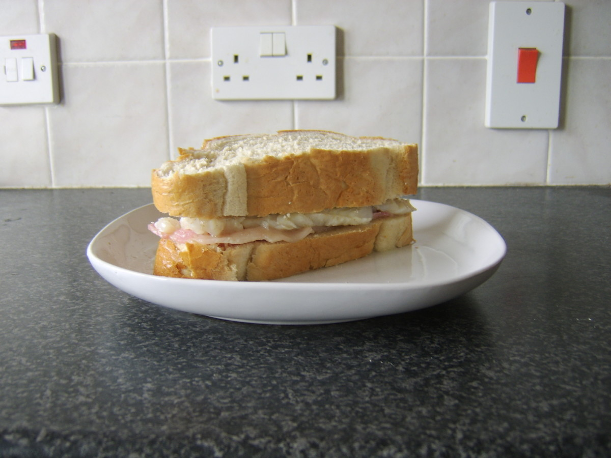 Bacon and cod sandwich ready to eat