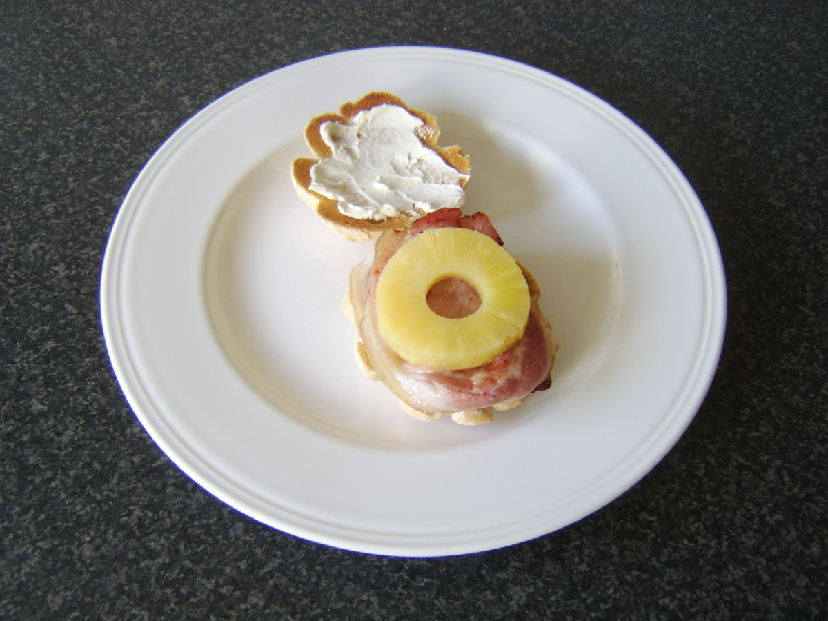 Pineapple roll is laid on middle bacon