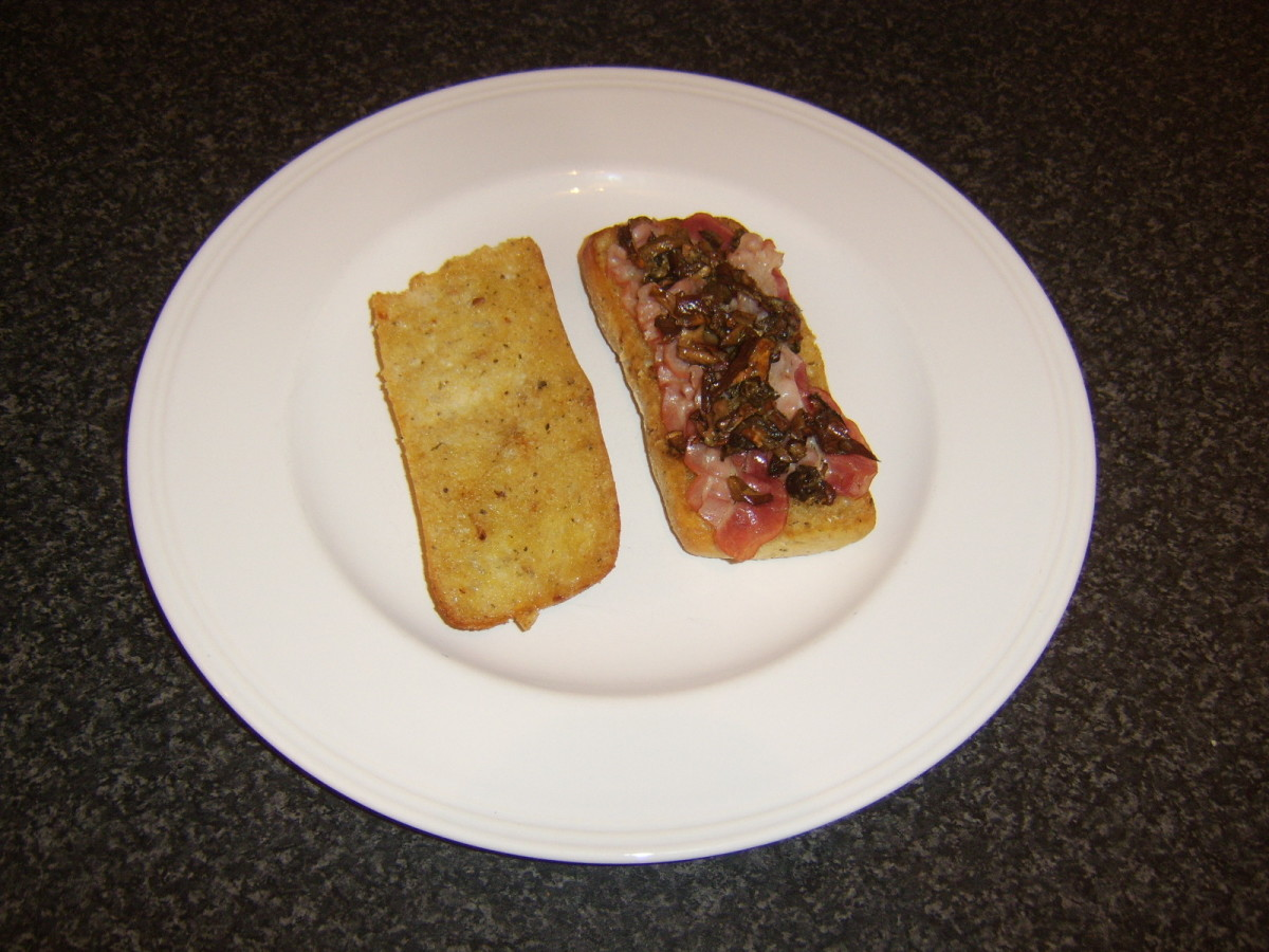 Italian bacon with garlic porcini mushrooms served in an Italian ciabatta bread roll