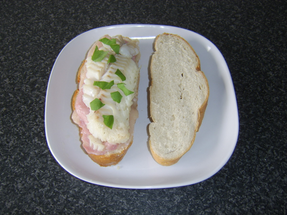 Bacon and a fillet of meaty cod make an unusual but delicious sandwich combination