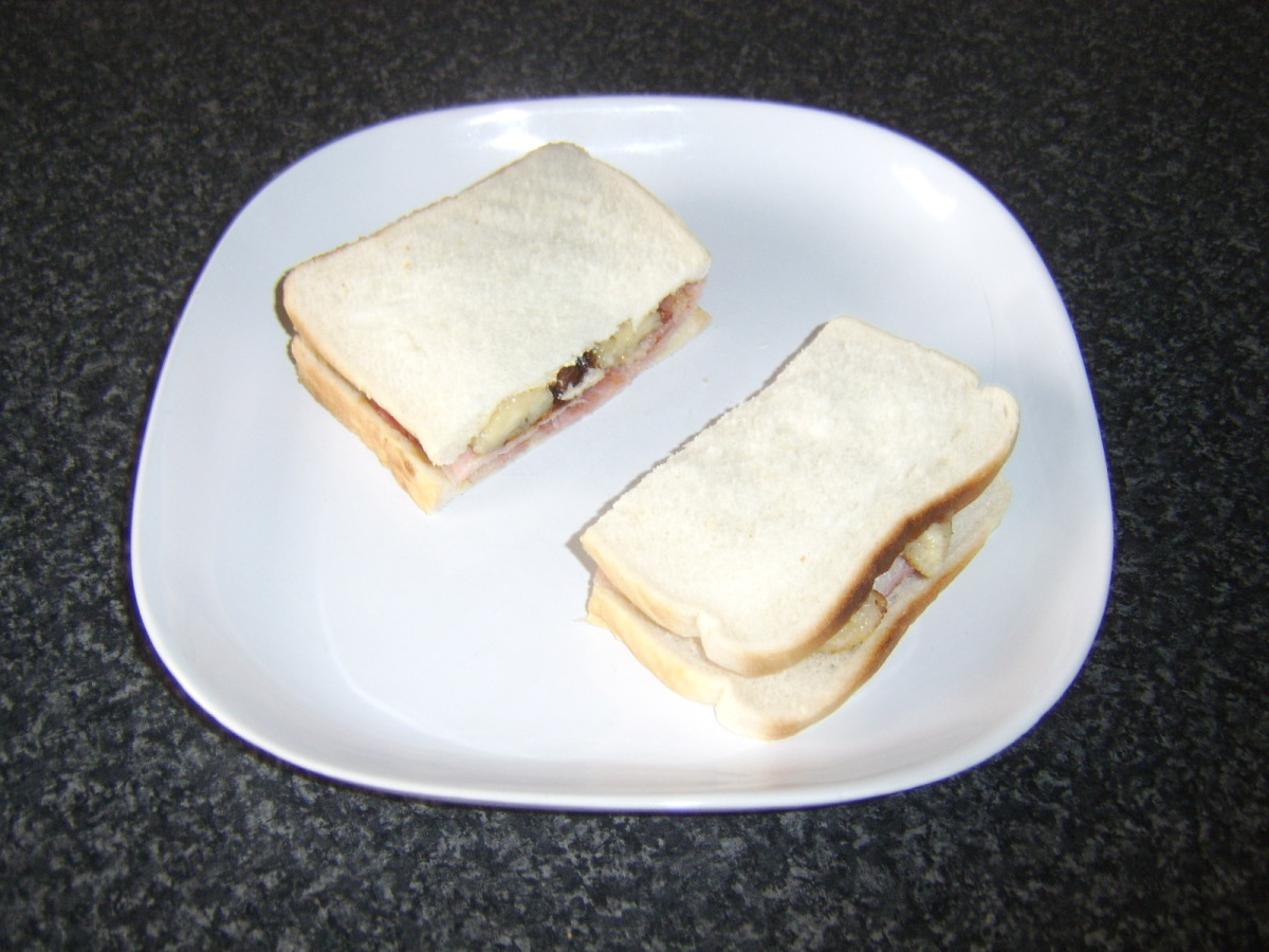 Bacon, banana and pickle sandwich is served