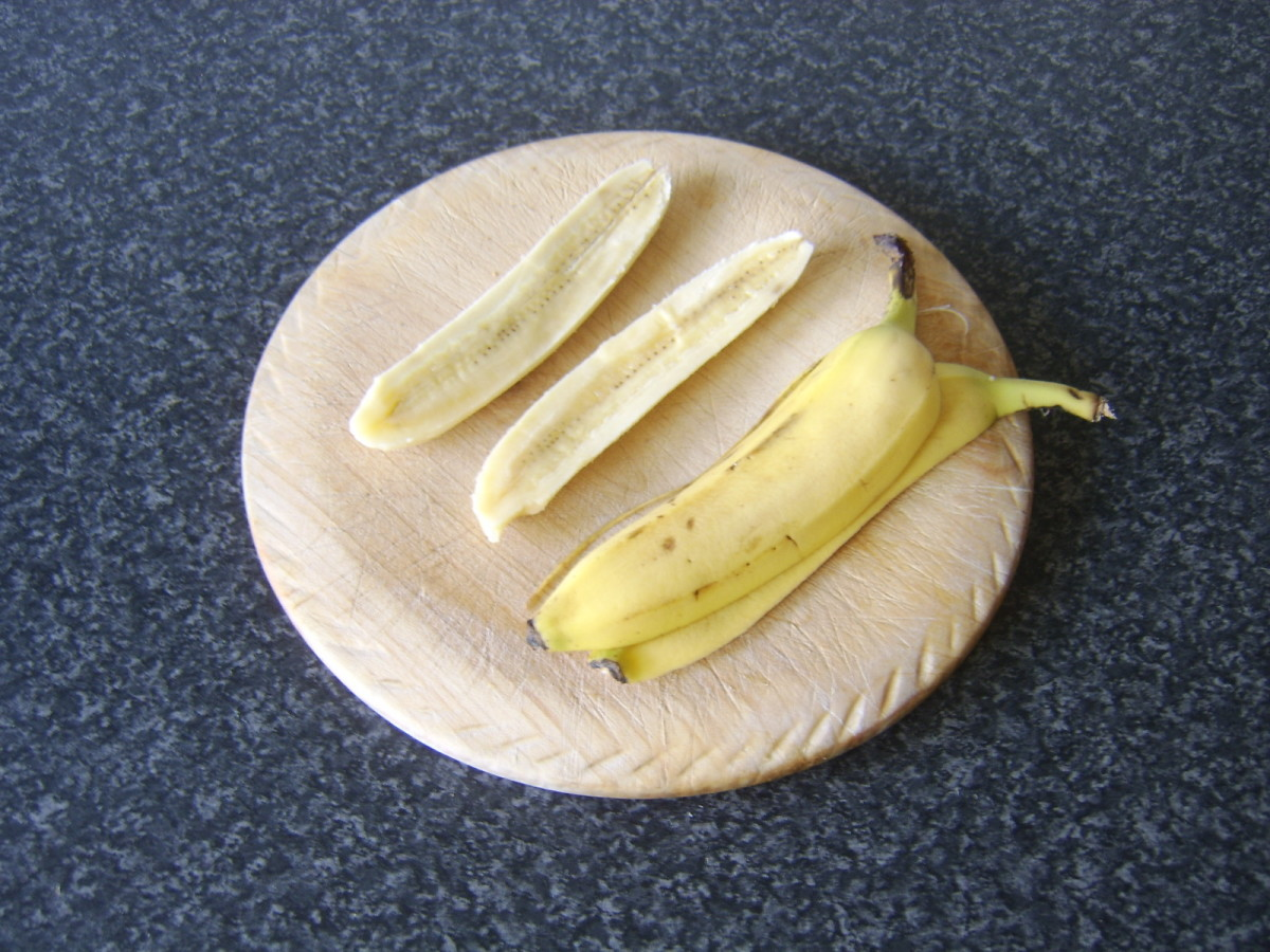Banana is peeled and halved lengthways