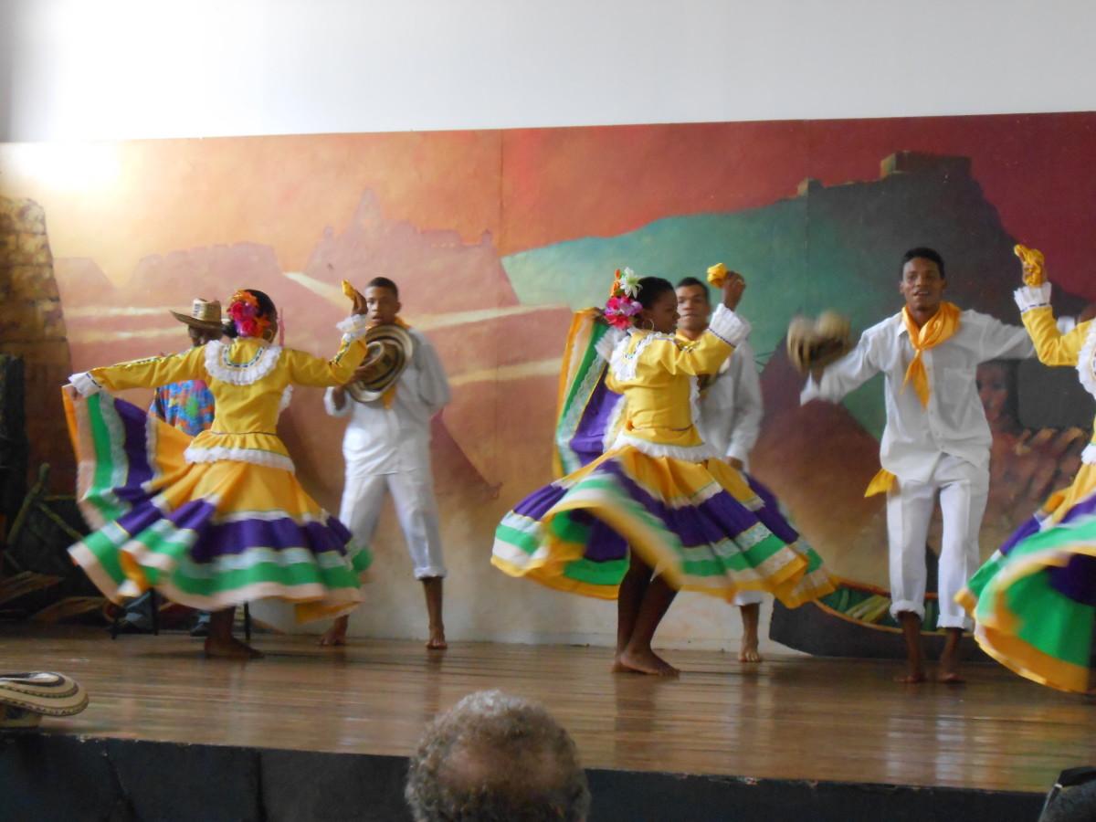Watching traditional dancers in Cartegena, Columbia