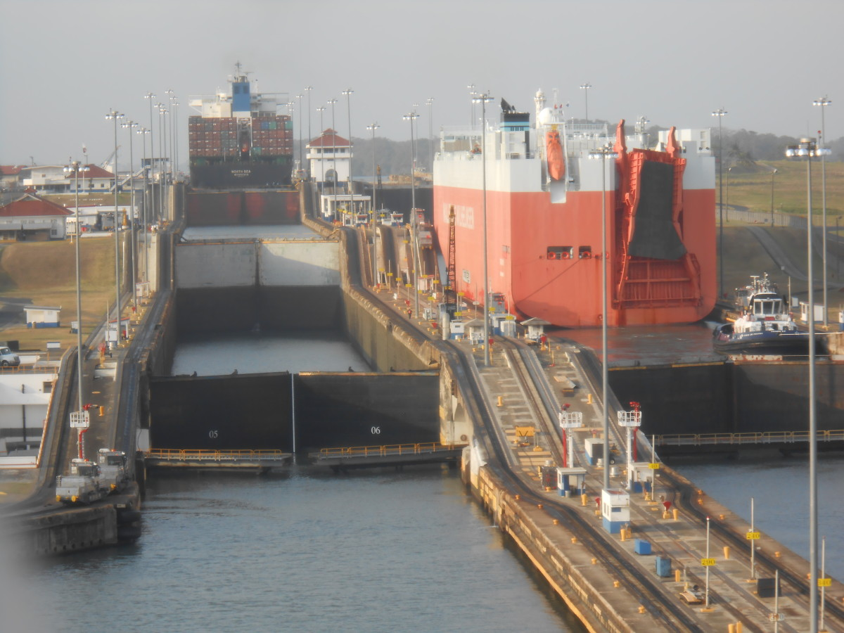 The locks of Gatun, entering the Panama Canal.