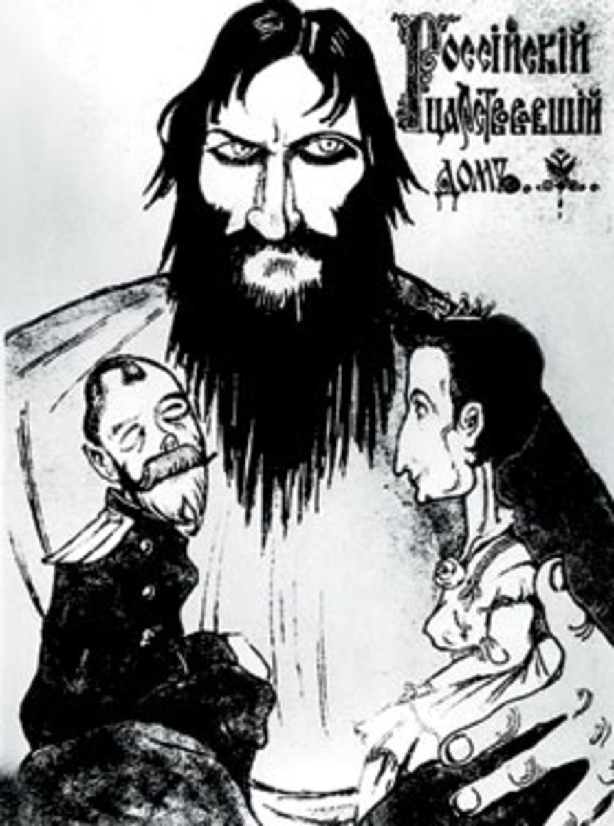 Propaganda concerning Rasputin's influence over the royal family.