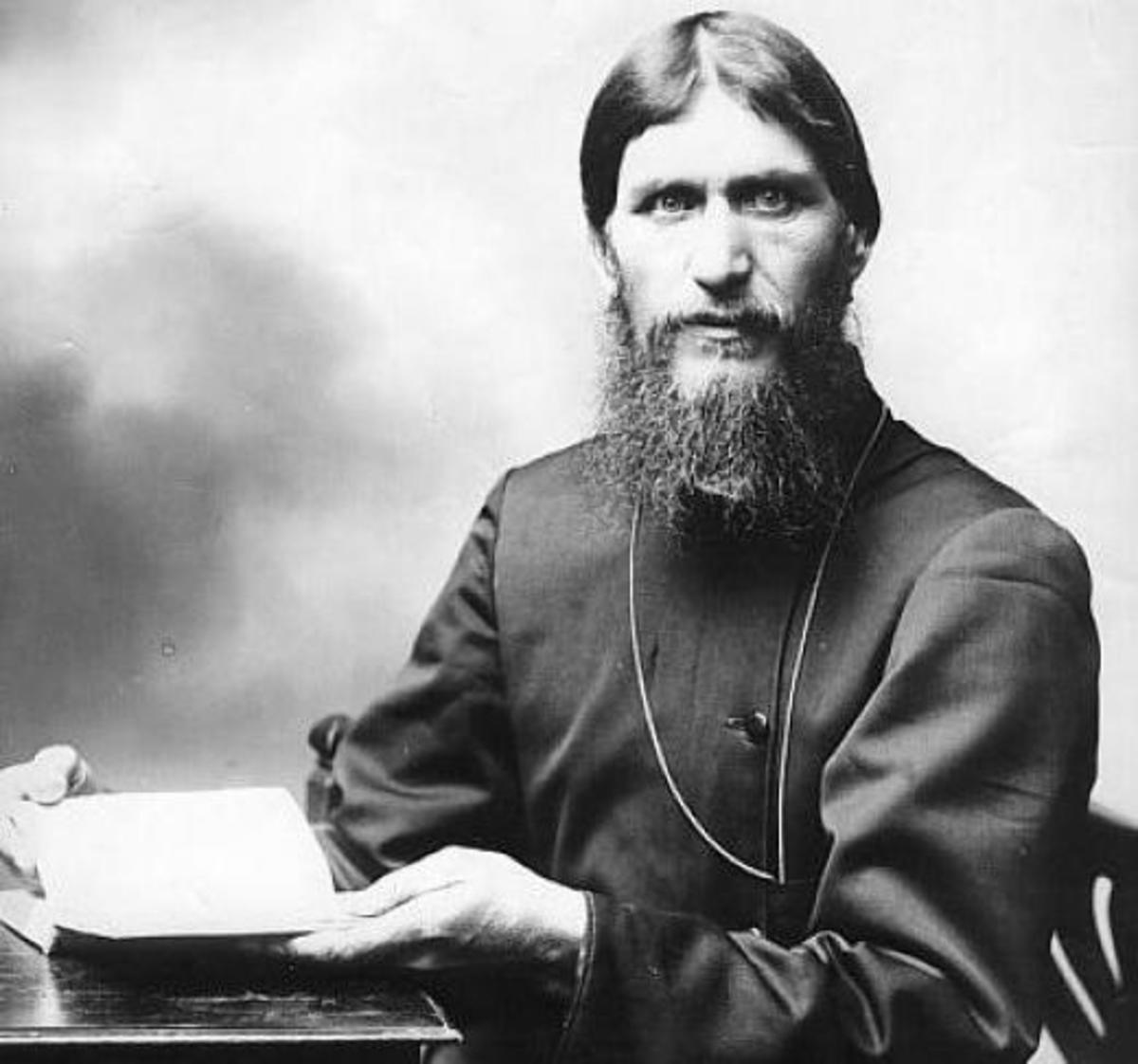 Rasputin stares into the camera.