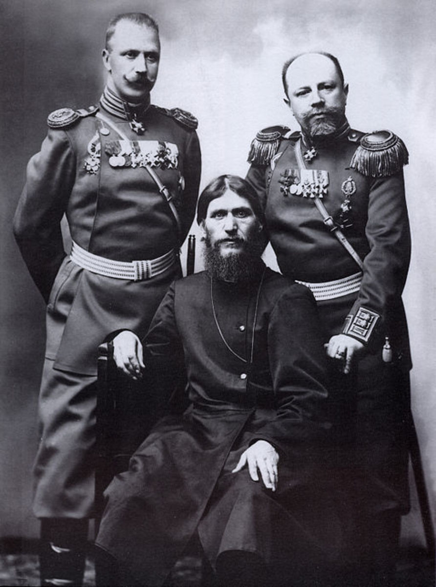 Rasputin with Russian military officers.