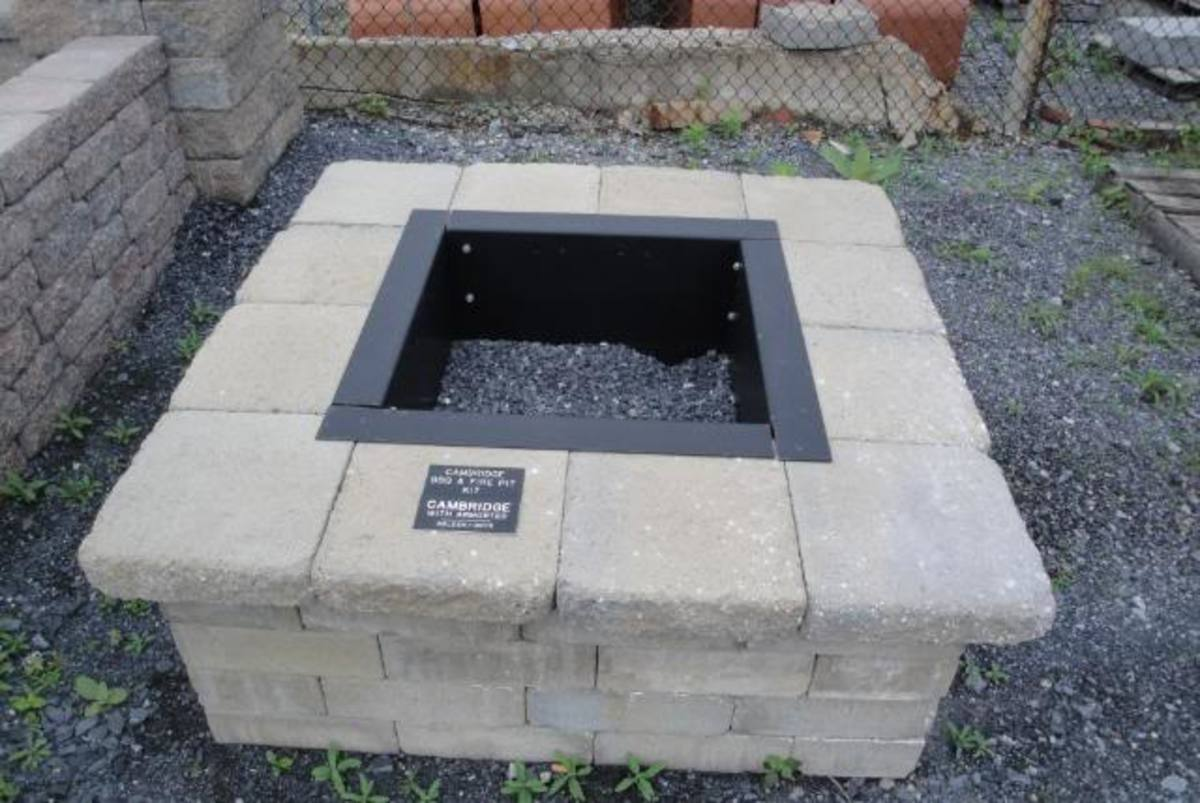 rectangular paver fire pit kit with top caps