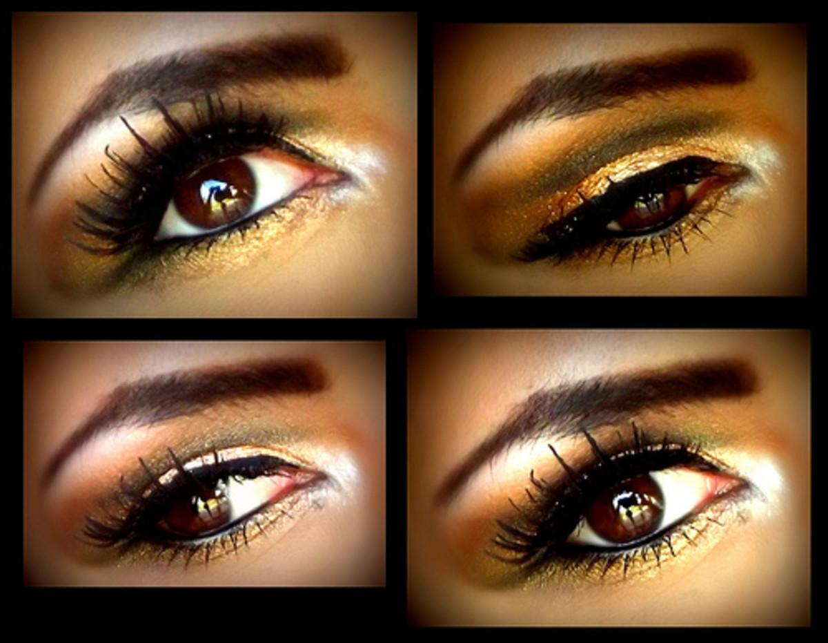 Golden eye make give a goddess look