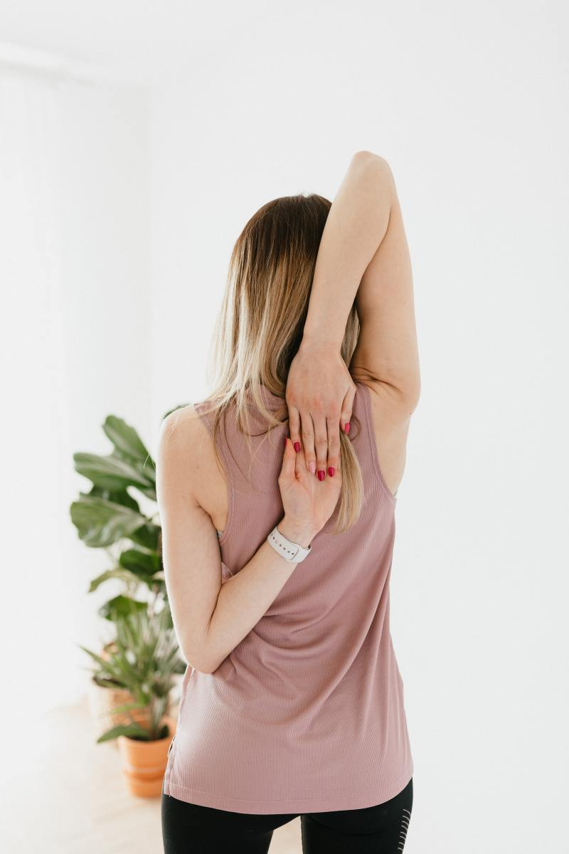 This is a great arm stretch to try if you are a bit more flexible.
