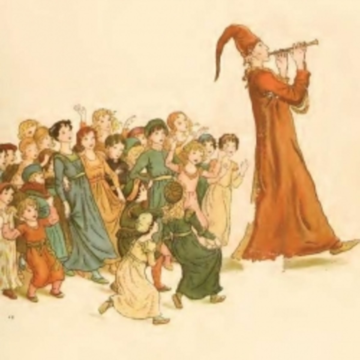 Kate Greenaway's illustration of Pied Piper of Hamelin