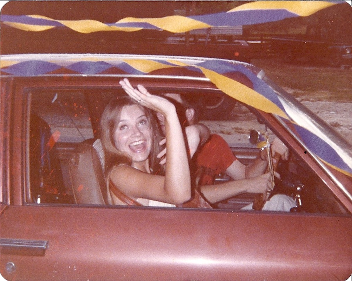 There we were driving away in our lovely Chevy Vega!  LOL  Yes, two dumb young kids, were we.