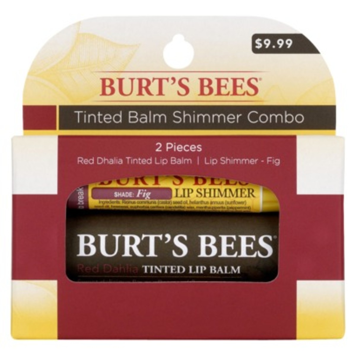 Burt's Bees combo pack (Burt's Bees Tinted Lip Balm Red Dahlia and Burt's Bees Lip Shimmer Fig). I may have actually the color Papaya for the Lip Shimmer.