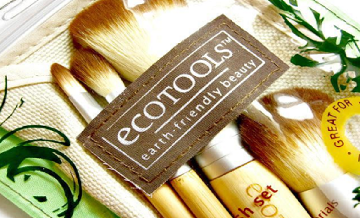 Ecotools makeup brushes with a handy pouch