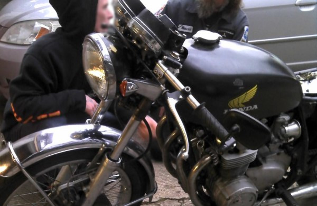 Up close and personal with a classic Honda motorcycle.