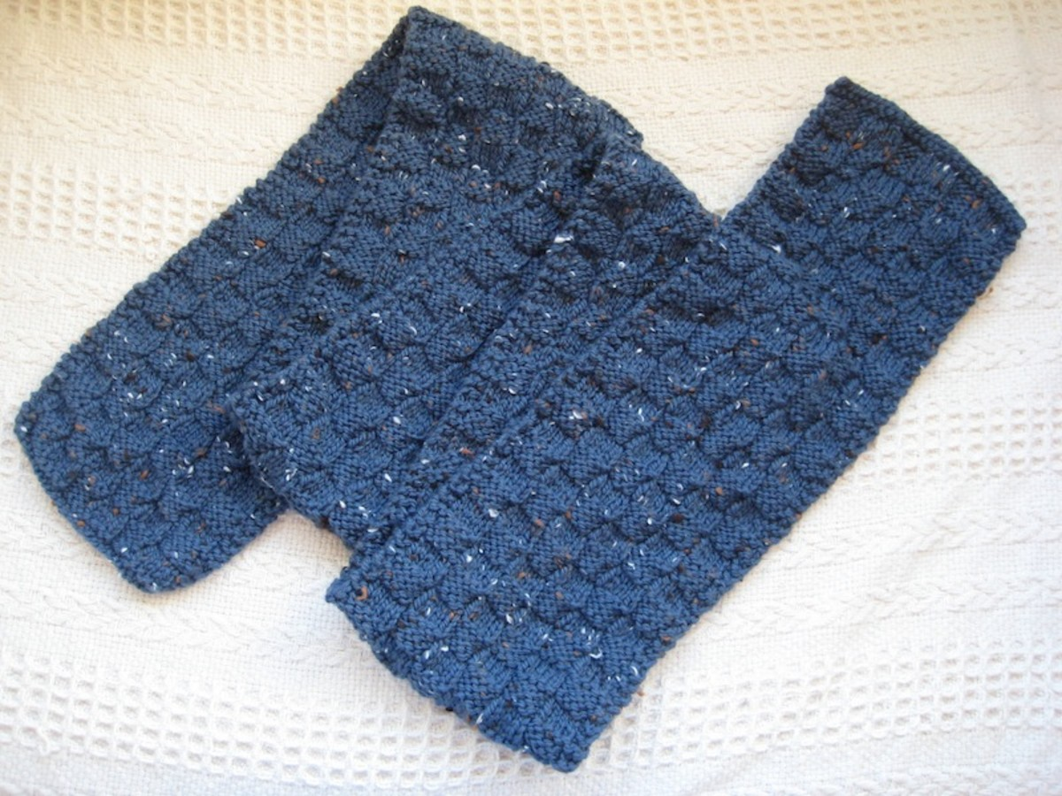 A simple scarf in the basket weave pattern, quick and easy to knit.