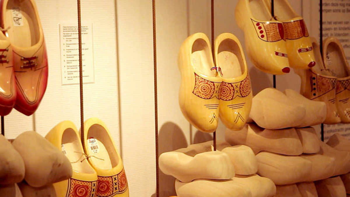 Wooden shoes in the Dutch Clog Museum.