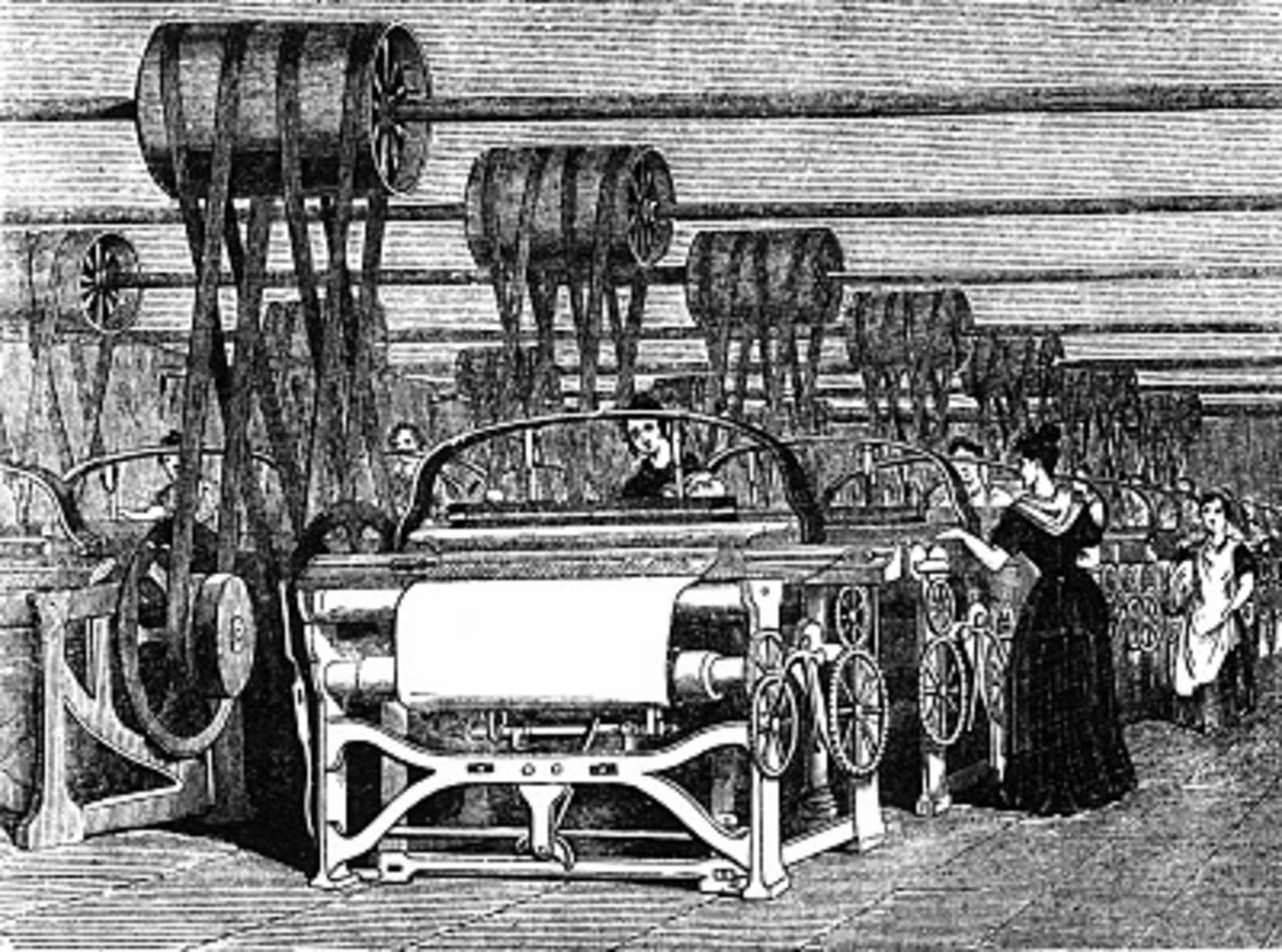 Looms of the Industrial Revolution in Britain.