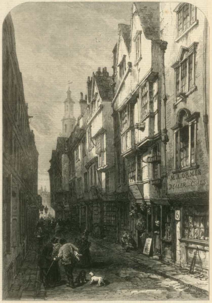 Squalid London street scene from around the time Thomson was writing The City of Dreadful Night