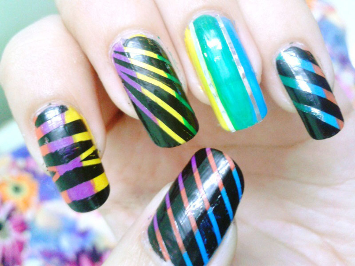 Striping tape nail art is one of the easy DIY nail art technique to make clean lines and checks on nails