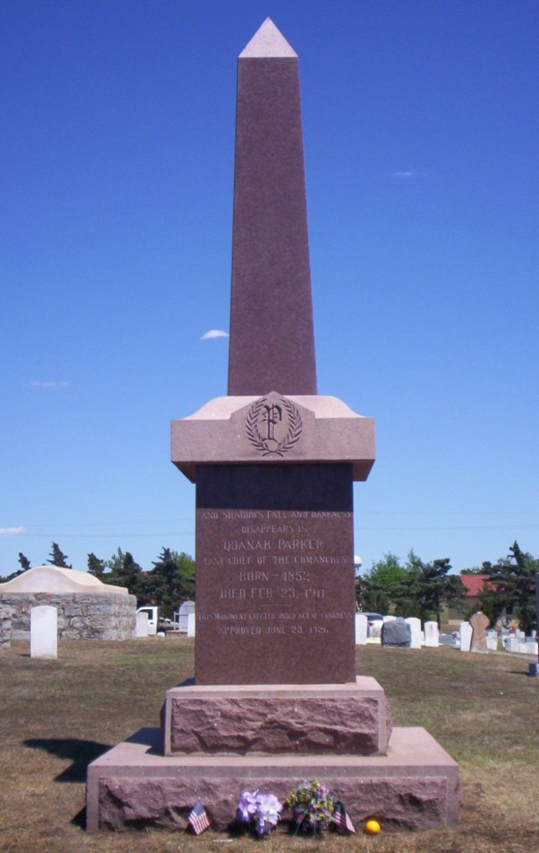 Gravestone of Quanah Parker located at Fort Sill, Oklahoma