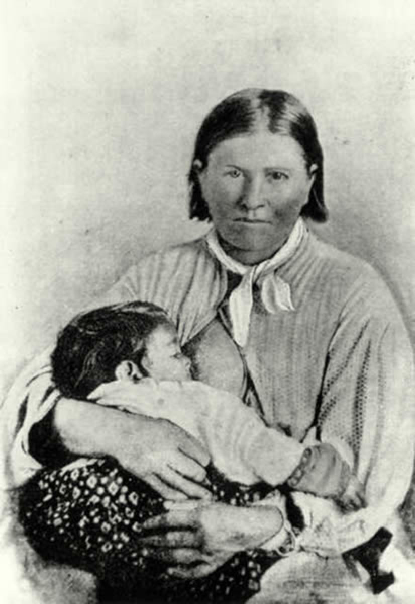 Cynthia Ann Parker and her baby, Prairie Flower