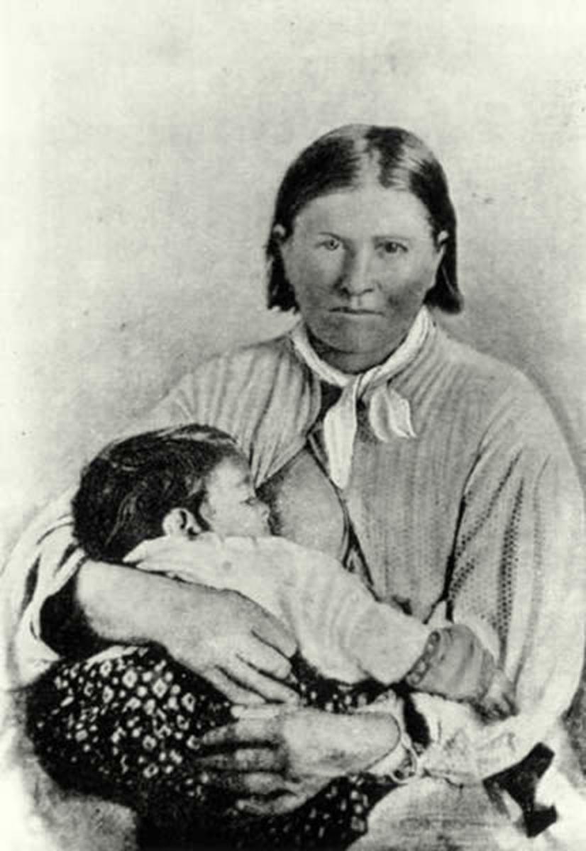 Cynthia Ann Parker and her baby, Prairie Flower