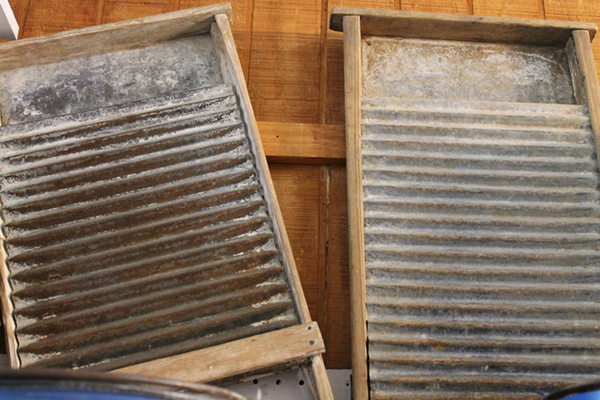 Old vintage galvanized washboards
