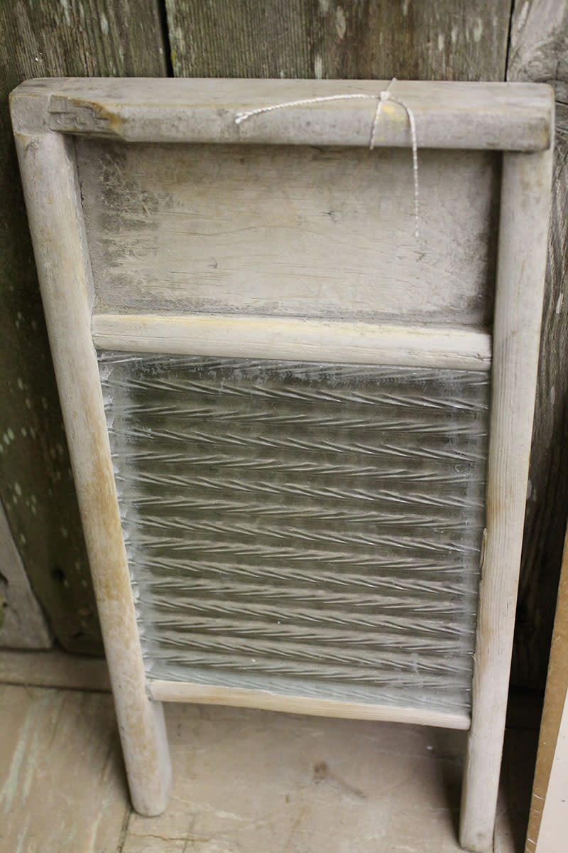 Vintage glass washboard