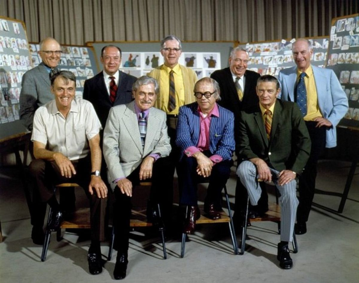 Disney's 9 Old Men: Les Clark, Marc Davis, Ollie Johnston, Milt Kahl, Ward Kimball, Eric Larson, John Lounsbery, Wolfgang Reitherman, and Frank Thomas