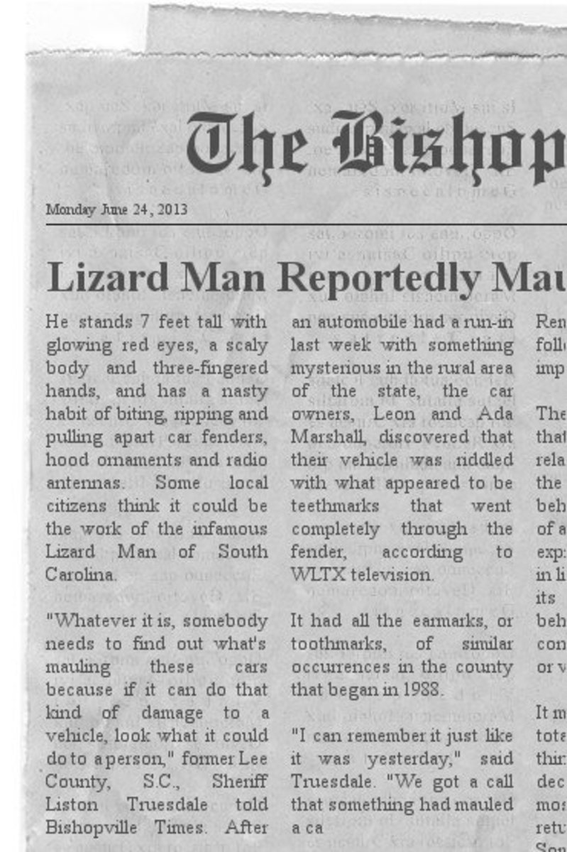 On Sunday June 23 , 2013 the Lizard Man Attacked Again According To The Newspaper Story On Monday June 24th, 2013. Has The Lizard Man Started His Attacks Again?