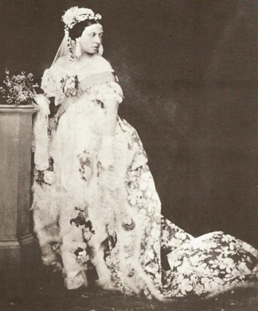 Queen Victoria In Her White Wedding Gown