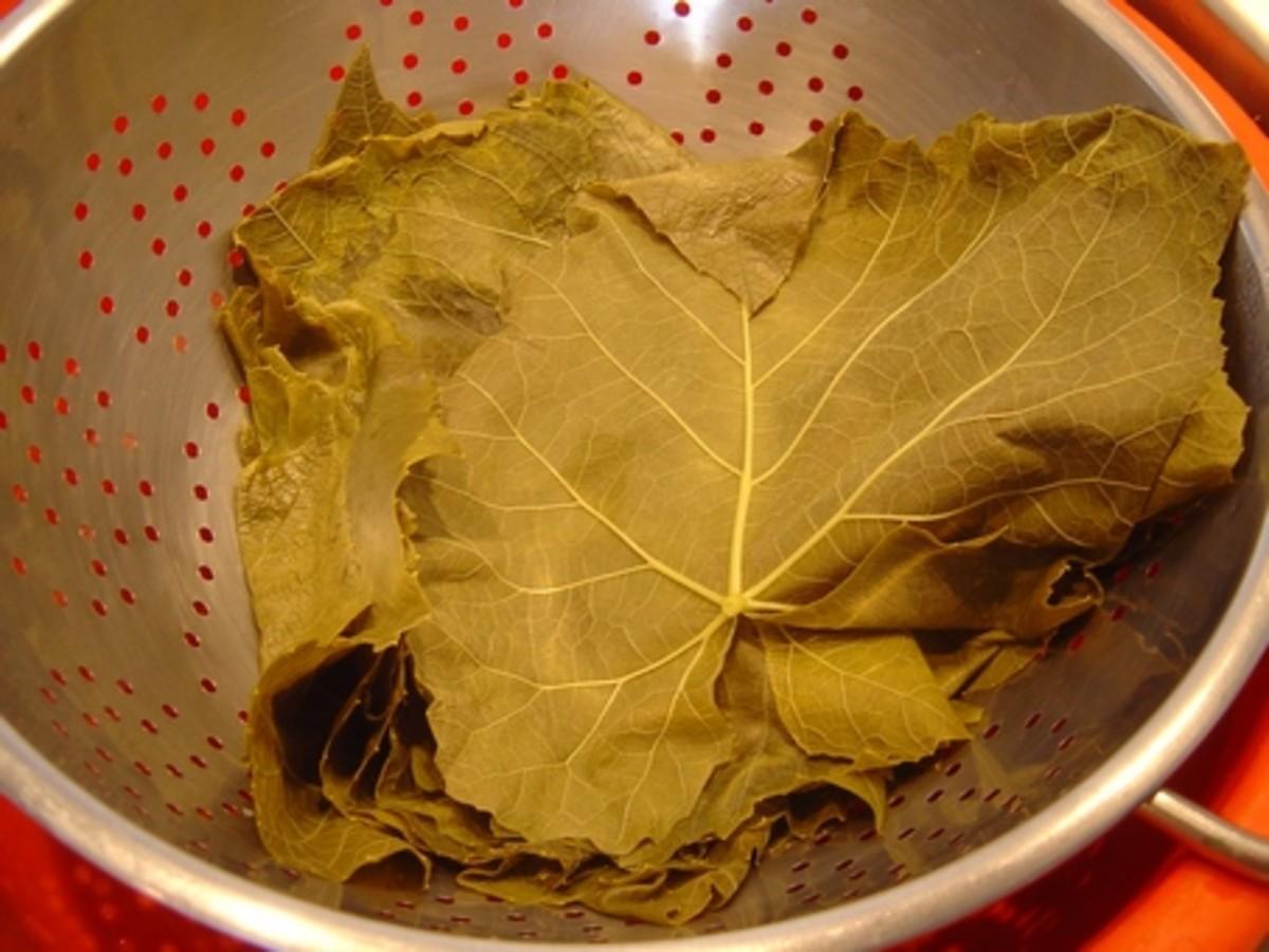 Drain the grape leafs in the colander