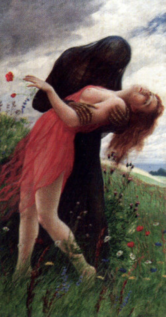 Death and the Maiden by Adolf Hering. This was an ancient concept, similar to Dickinson's 712, with Death coming gently.