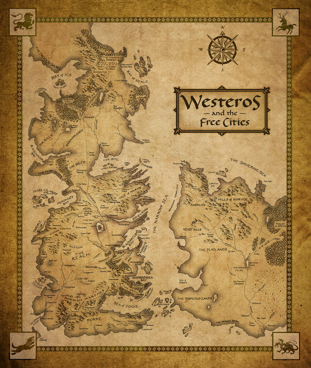 Map of Westeros and the free cities